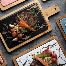 Phiến Đá Cẩm Thạch Hình Tròn Egde Cheese Board Flat Dish Plate Phục Vụ Đĩa Phẳng Với Khay Tre