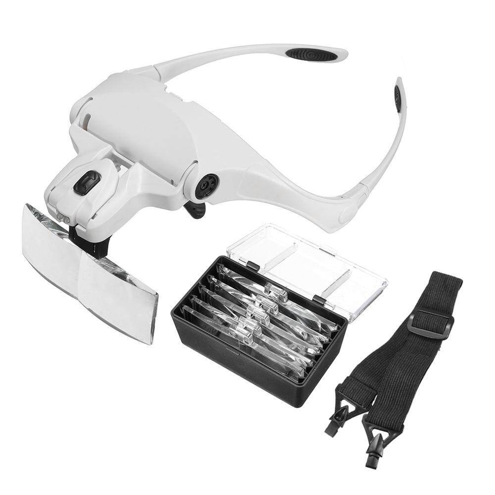 Goodgreat Head Mount Magnifier With 2 Led Light Bracket And Headband Interchangeable Handsfree Reading 5 Replaceable Lenses For Professional Jewelry Loupe, Reading, Watch Electronic Repair By Good&great.