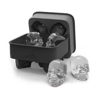 4 หลุมซิลิโคนกระดูกกะโหลก ICE CUBE แม่พิมพ์เค้กถาดลูกอมฮาโลวีนของขวัญ-