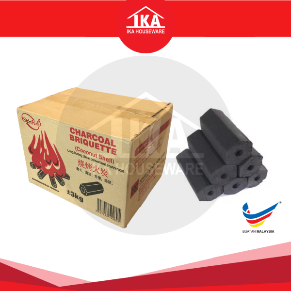 IKA Star Fire Charcoal Briquette 3KG+/- (Coconut Sheel) / BBQ Batu Arang 3KG+/-