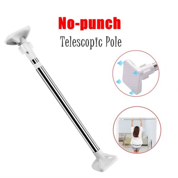 Stainless Steel Shower Curtain Rod Telescopic Rod Free Punch Clothesline Pole Shower Curtain Rod
