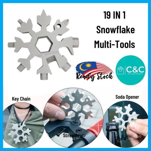 -Ready Stock- 19 IN 1 Snowflake Multi Tools Screwdriver Allen Key Ring Spanner Wrench Portable Octagonal