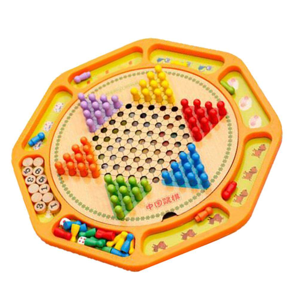 BolehDeals Wooden Traditional Chinese Checker Game Travel Game Board Kids Toy
