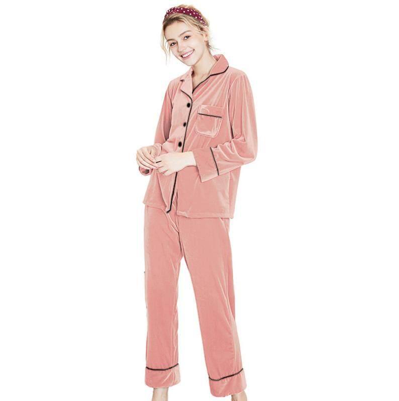 2pcs Set Luxury Female Autumn Winter Nightgown Long Sleeve Velvet Soft Warm  Solid Sleepwear Pajamas 26f091d8b