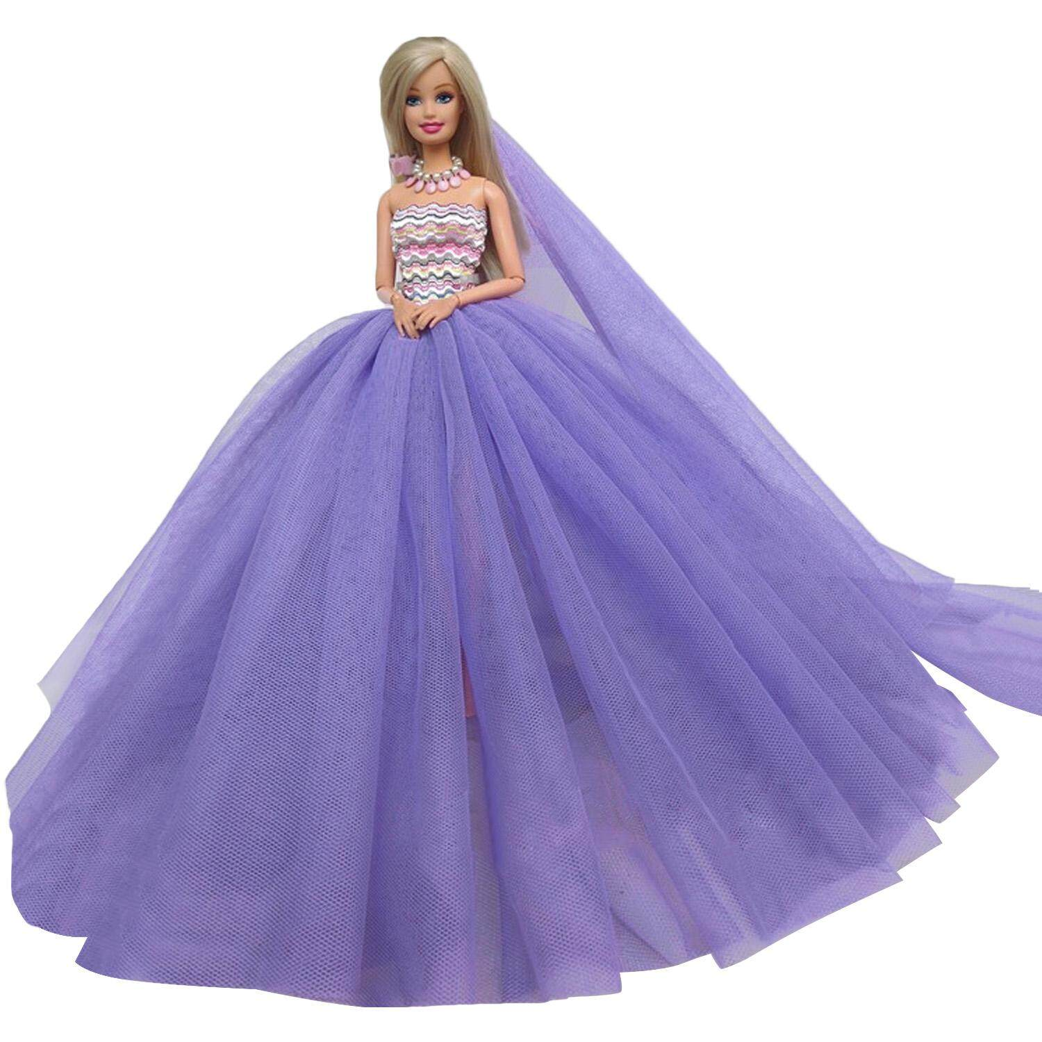 Fashion Wedding Party Dress Outfit Clothes Costume for Barbie Dolls Accessories Children Girls Birthday Festival Gift