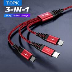 Cáp Sạc Nhanh USB 3 Trong 1 TOPK AN24 Dây Sạc Nylon Cho iPhone Samsung Xiaomi HUAWEI Vivo OPPO Micro USB Type C