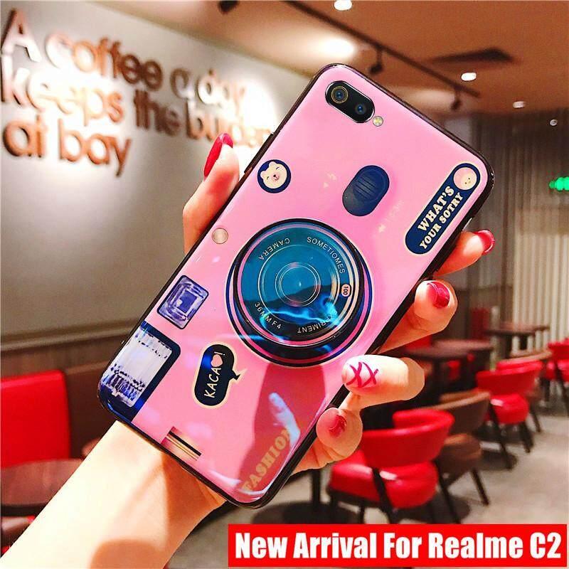 Blue Ray 3D Casing Kamera untuk Realme C2 Casing Silikon Yang Lembut Casing TPU Sarung Telepon Genggam
