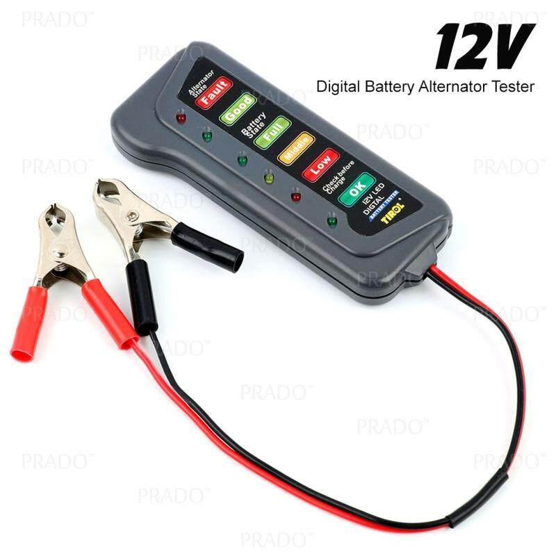 PRADO Malaysia 12V Digital Battery Alternator Tester 6 LED Lights Display  For Cars Motorcycle
