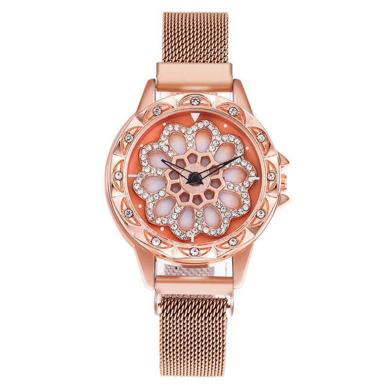 360 degree rotation Women Mesh Magnet Buckle Starry Sky Watch Luxury Fashion Ladies Geometric Quartz Watch. Malaysia
