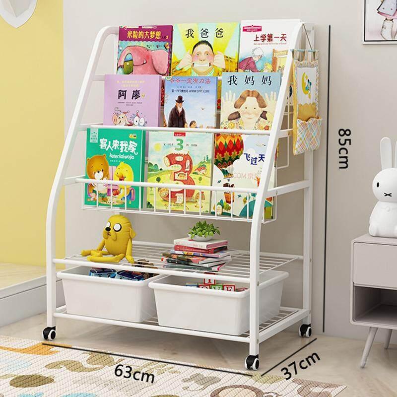 RiYuYu - 63x37x85cm, 5-Layer Bookcase with Bins, Solid Iron Kids Book Rack Storage Bookshelf with Wheels, Floor Bookshelf for Children, Home Furniture Organizer Storage Cabinet