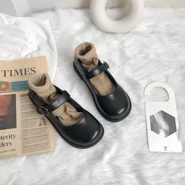RUO262 Giày Da Nhỏ Nhật Bản JK, Nữ 2021 Mùa Xuân Mới Yinglan Gió Đen Hoang Dã Với Váy, Giày Lolita giá rẻ