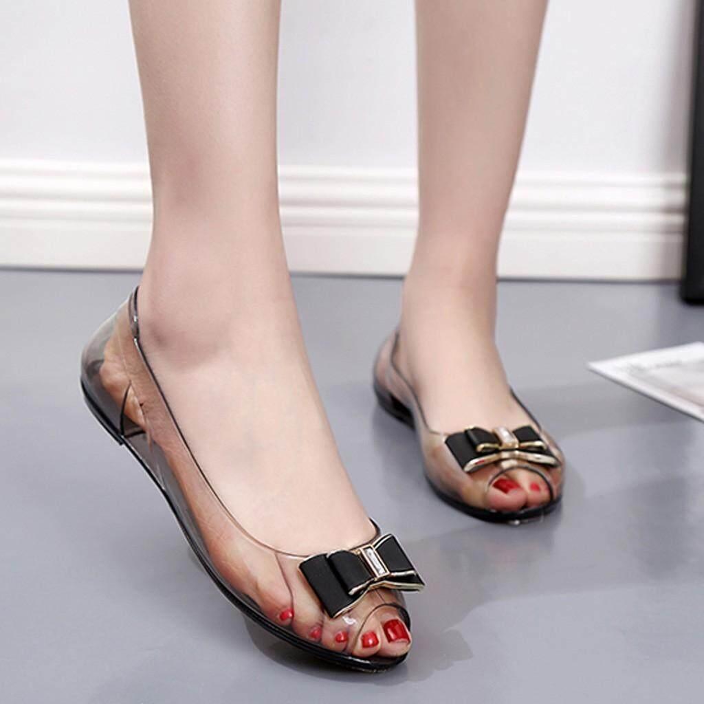 c655c506ac 〖Free Shipping〗Waldenshop COD Women Summer Rhinestone Transparent Crystal  Sandals Flat Jelly Fish Mouth Shoes