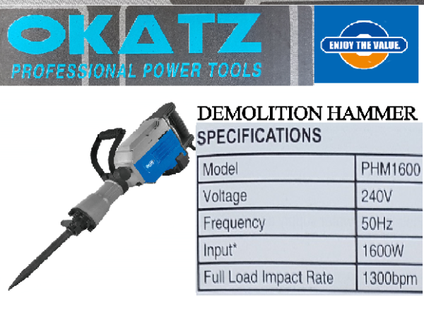 demolition hammer impact wrench ground surface rammer work wall concrete cement brick tile granite chisel tamping torque oil power tool motor electric wire rotary machine metal stand bit drill grinder set driver handle hold holder cutter crush point shank