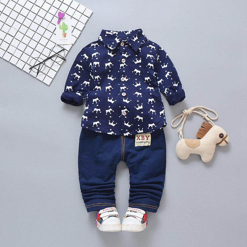 929e781e00bd Autumn Baby Boy Long Sleeve Crown Pattern Soft Cotton Shirt Tops+Long Denim  Pants Trousers