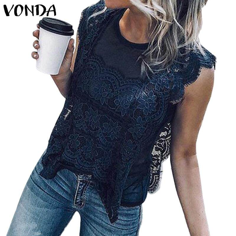 d52f9a487d659 Specifications of VONDA Women Sleeveless Crew Neck Loose Lace Up Solid Cami Tank  Top Blouse T-shirt Tee