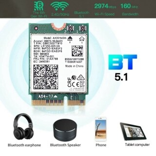 Wifi Card Ax201 Ngw with Antenna Wifi 6 3000Mbps M.2 Cnvio2 Bluetooth 5.1 Wifi Adapter for Windows10 thumbnail