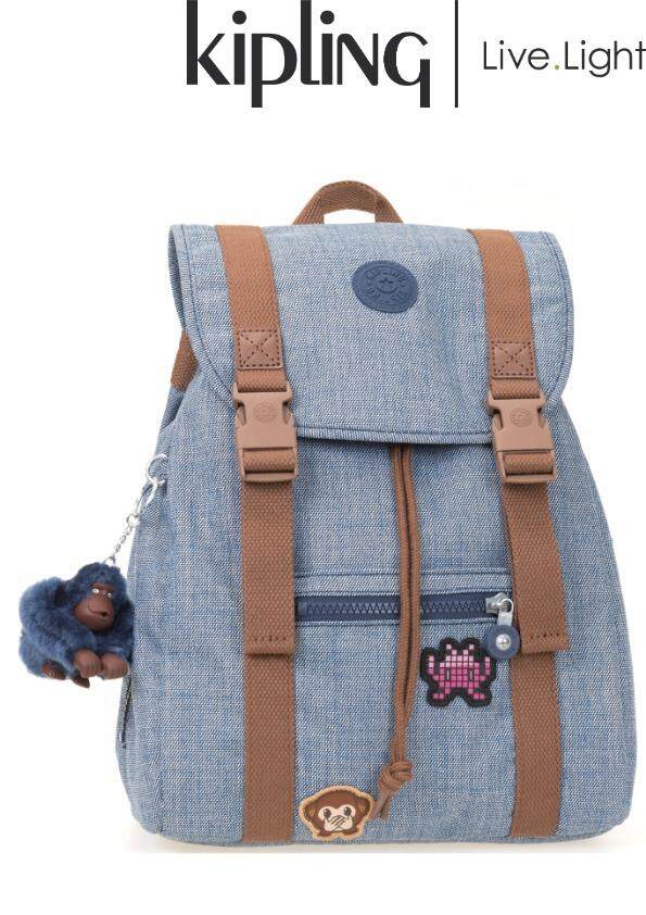 KIPLING AICIL Cotton Bl Patch - Medium Backpack  Laptop  School Bag Back To  School 5b4d560146