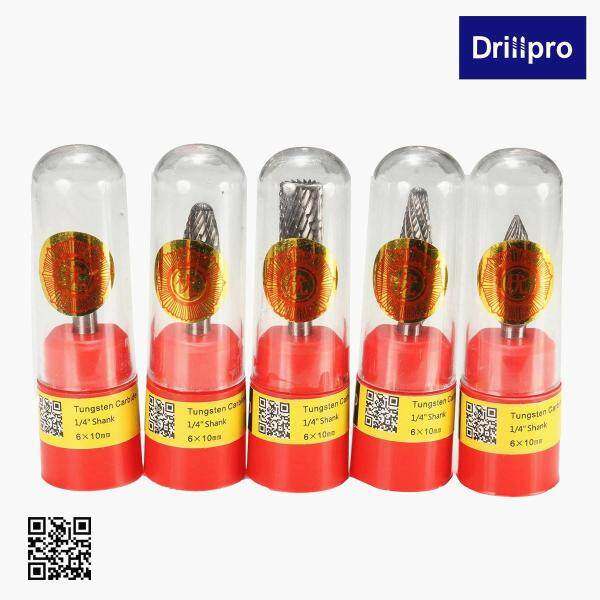 Drillpro RB29 5 Pcs 1/4 Inch Shank 10 Mm Tungsten Carbide Burr Dụng Cụ Cắt Kiểu Xoay Bộ Giũa Công Cụ Khắc