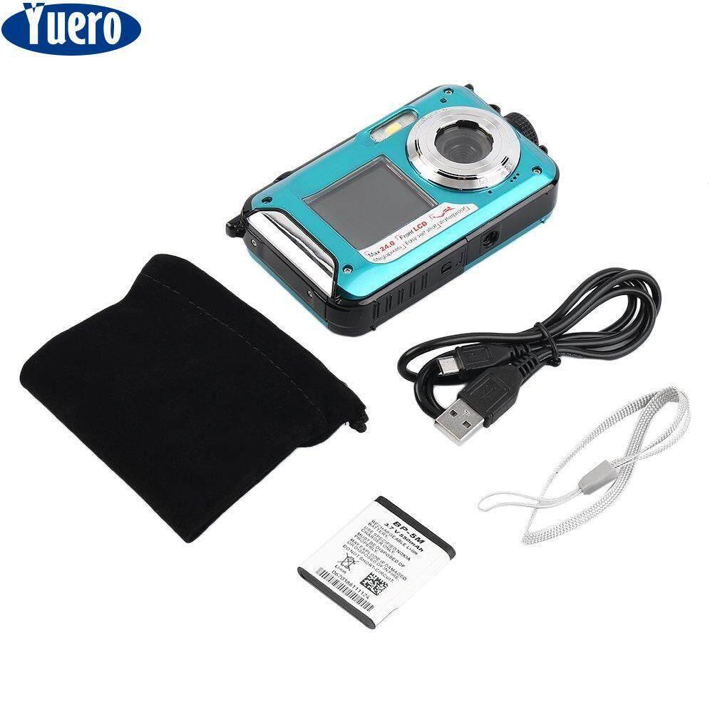 Yuero Baru Kamera Digital Tahan Air 5mp Max 1080 P Double Screen16x Zoom Camcorder, Ront Layar 1.8 Inch, Belakang Layar Tft 2.7 Inci By Yuero.