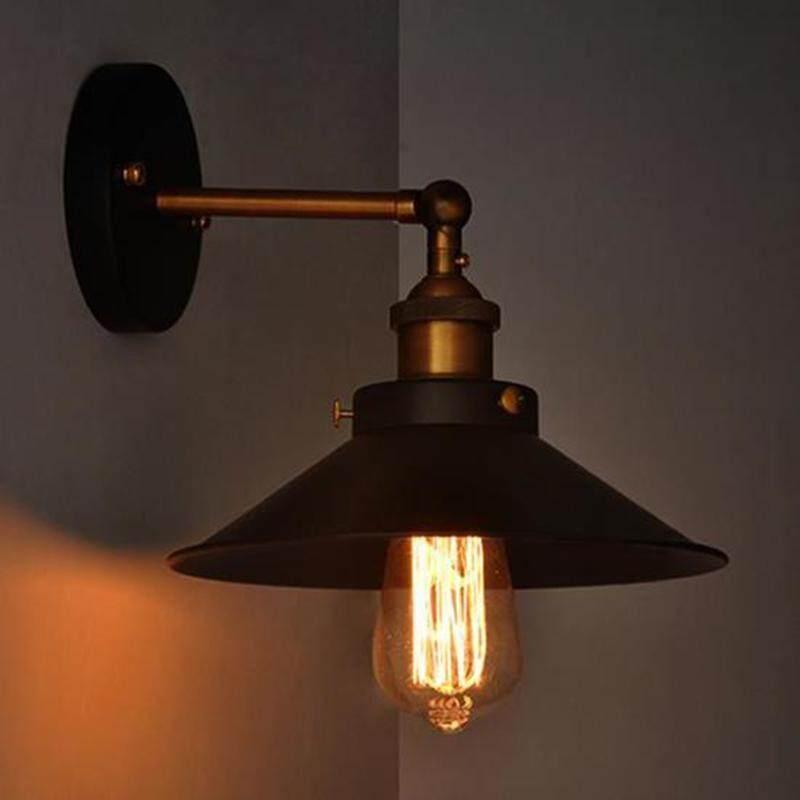 Oobest Industrial Lamp Black Metal Umbrella Vintage Loft Wall Light Fixtures Retro Wall Light Edison E27 Diameter 21cm Singapore