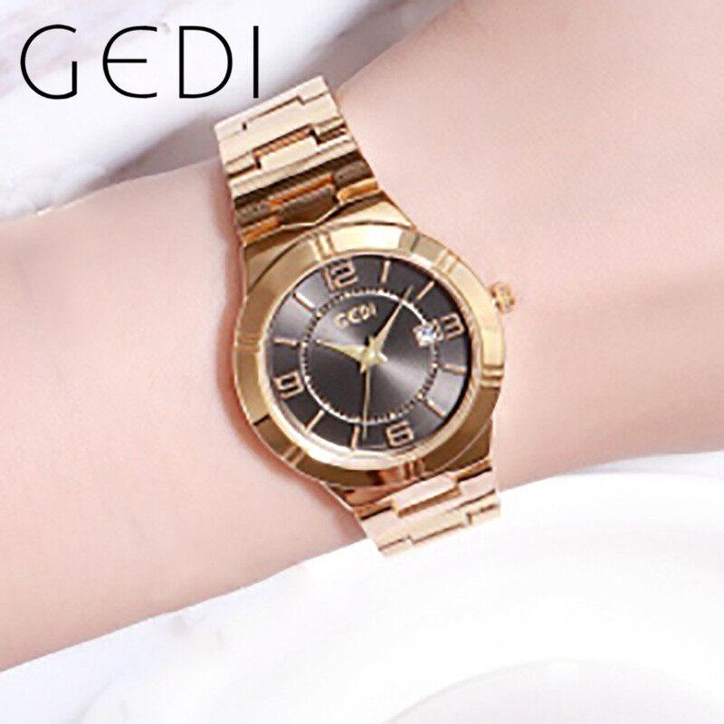 GEDI 81010 Tròn Dây đeo thép không gỉ Đồng hồ thạch anh không thấm nước Đồng hồ đeo tay nữ Có bảo hành đồng hồ nữ