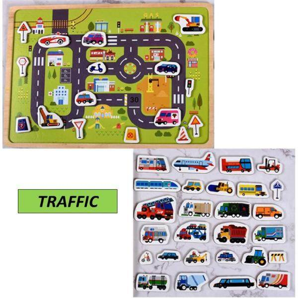 Kid Early Learning Wooden 3D Magnetic Jigsaw Puzzle Board