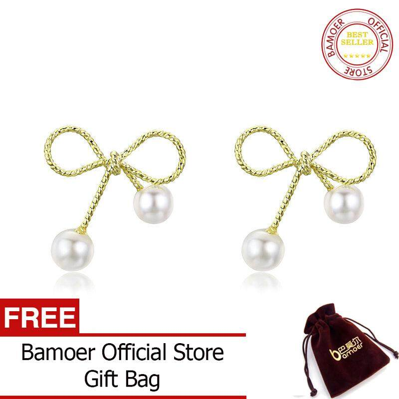 414d825fd68d7 BAMOER Elegant Pearl bow Gold Plated Stud Earrings For Women Fashion  Jewelry YIE201