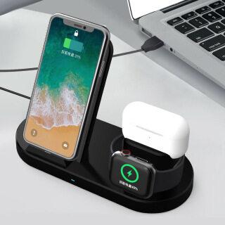 Giá Sạc Không Dây Nhanh 15W Dành Cho iPhone 12 11 XS Max X 8 Plus Đồng Hồ Apple Chuyên Nghiệp Sạc Sân Bay, Đế Sạc 6 5 4 3 3IN1 thumbnail