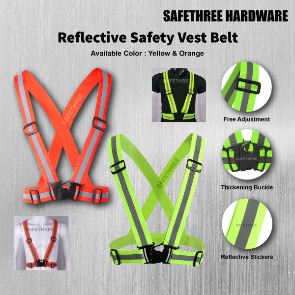 Yellow & Orange Adjustable Safety Vest Visibility Reflective / Safety Reflective Belt, Outdoor Running Cycling Motorcycle Elastic Reflective Vest Harness Green