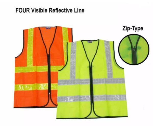 YOUMIKU Unisex Reflective Line Safety Vest Zip Type Heavy Duty Type Green & Orange/Jaket Keselamatan/拉链式反光线安全背心