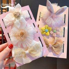 I Love Daddy&Mummy Bộ 3 băng đô xinh xắn hình nơ hoa ren dành cho bé gái – INTL