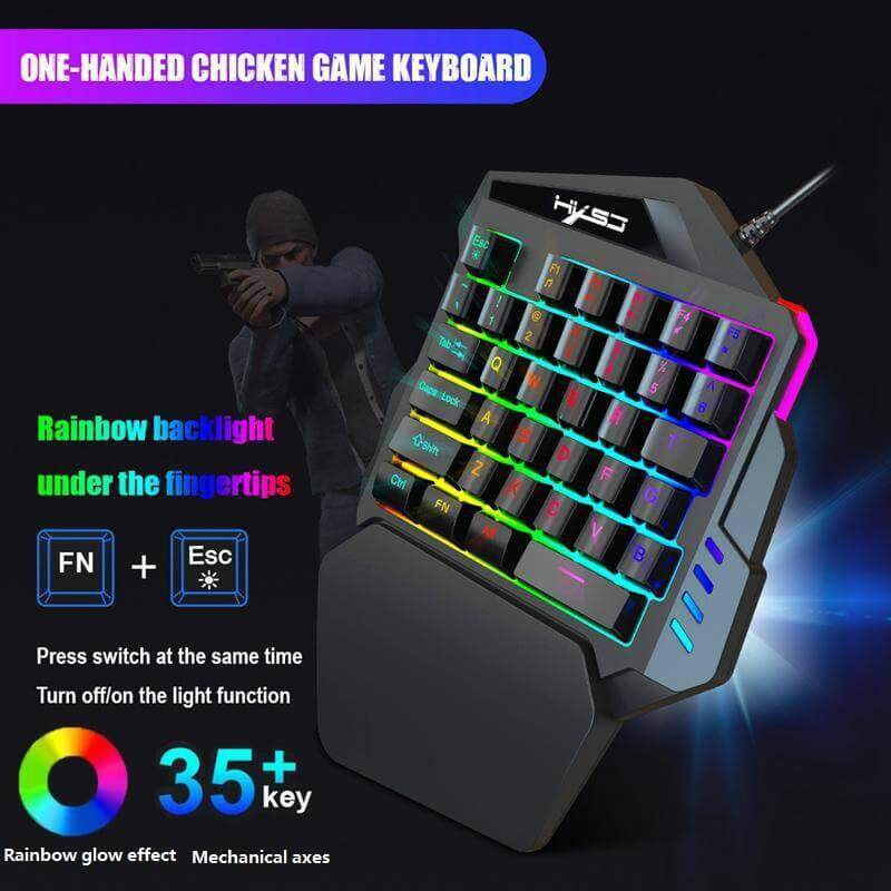 Vankel 35-Key Gaming Keyboard With One Hand With Rgb Color Backlit One-Handed Keyboard Game - Ergonomic Design Mini Portable Multi-Device Compatible Plug And Play Macro Definition Malaysia