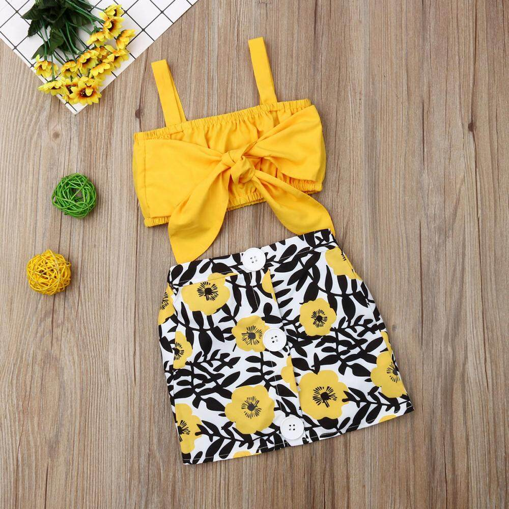 US Newborn Baby Girl Stripe Tops Short Pants Skirts Outfits Clothes Set Sunsuit