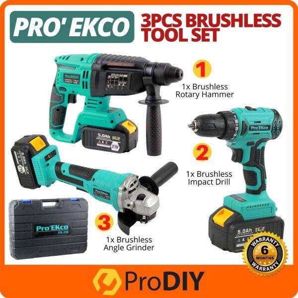 PRO EKCO EK-330 / EK330 3pcs Brushless Tool Set Impact Drill + Rotary Hammer + Angle Grinder with 2 Battery