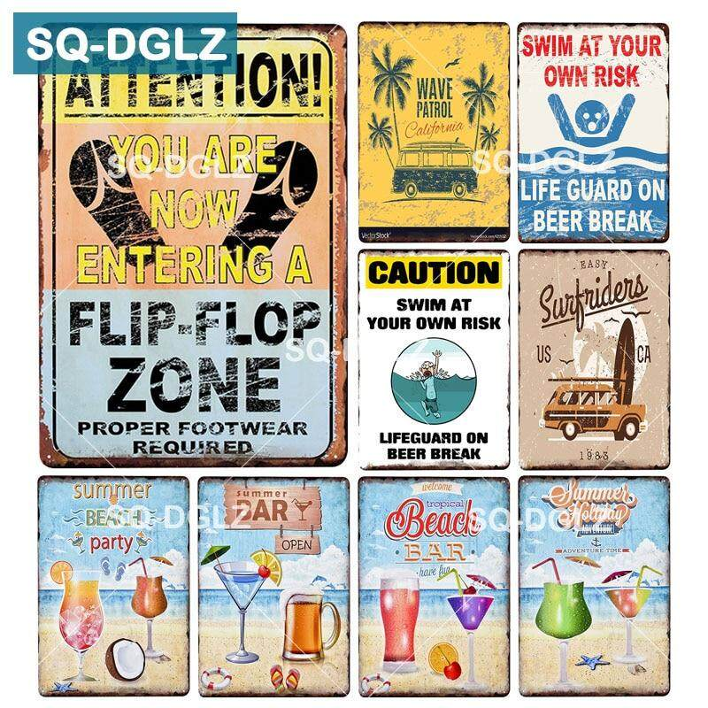 Warning Metal Tin Signs Retro Plate Swim At Your Own Risk Art Wall Decor