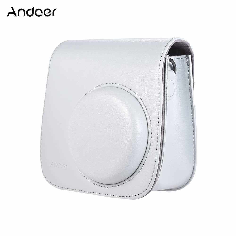 Andoer PU Instant Camera Case Bag with Strap for Fujifilm Instax Mini 9/8/8+/8s Smokey White (White)