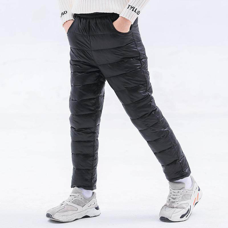 KIDS Winter Warm Loose Packable Down Pants Puffer High Waisted Nylon Compression Lightweight Snow Trousers
