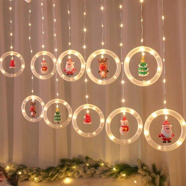 Bảng giá Đèn LED Treo Rèm Hình Nhẫn Giáng Sinh Dây Trang Trí Giáng Sinh, Đèn Ông Già Noel Tiệc Giáng Sinh Gia Đình, Quà Tặng Năm Mới 2022