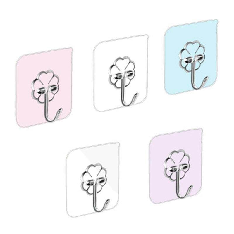 8 PCS Self Adhesive Hooks stick hook Heavy Duty Sticky Wall  Ceiling Door Hooks Nail Free Clear Reusable Hook for Bathroom and Kitchen No Scratch Waterproof and Oilproof