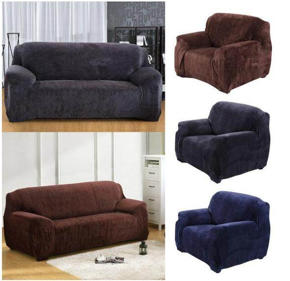 3 Seater Plush Sofa Slipcover Stretch Elastic Protector Couch Cover Washable