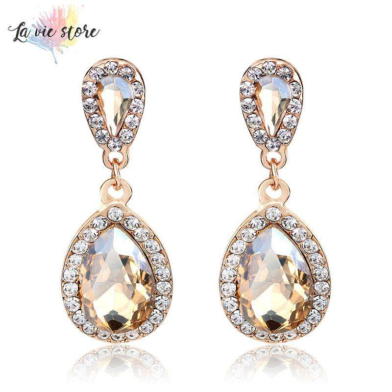 La vis 1 Pair Shining Large Teardrop Dangle Earrings Bridal Wedding Jewelry Gifts for Women