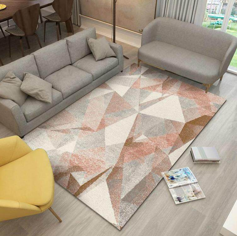 200*300cm Nordic Style Geometrical Living Room Carpet Coffee Table Blanket Bedroom Rectangle Non-slip Absorbent Polyester Rug