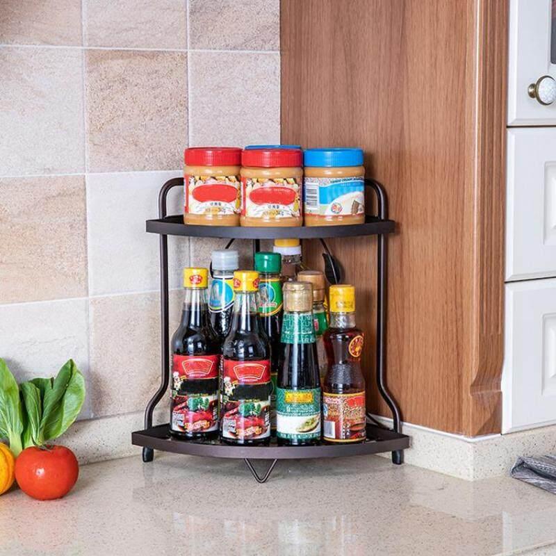 Iron Corner Shelf Kitchen Supplies Storage Rack Bathroom European Style Double-Layer Stand