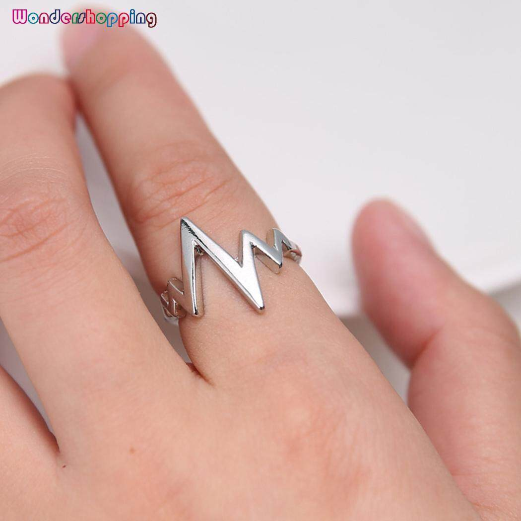 Wedding & Engagement Jewelry Rings Alloy Women Heartbeat Ring Jewelry Finger Electrocardiogram Men Tail Engagement Rings
