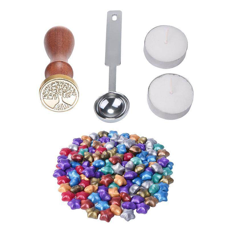 Outflety 100 Ps European Retro Star Shape Sealing Wax With 1 Piece Wax Melting Spoon, 1 Piece Sealing Wax Stamp And 2 Pieces Wax By Outflety.