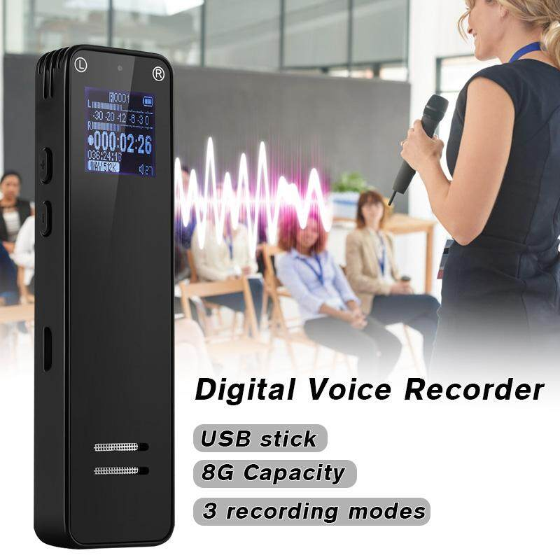 【Free Shipping】EIVOTOR LCD Display Digital Sound Voice Recorder 8GB Rechargeable MP3 Player with Speech Recognition MP3 Player for Voice Recording in Office School Interview