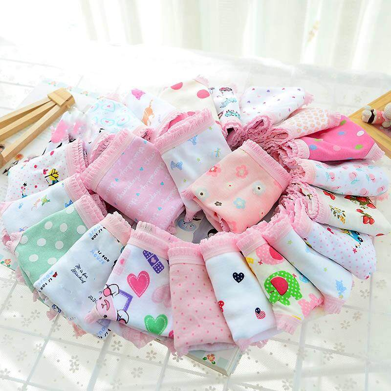 12pcs/set Cotton Children Girl Underwear Briefs Cartoon Flower Animal Pattern Lace Panties By Babyqt.