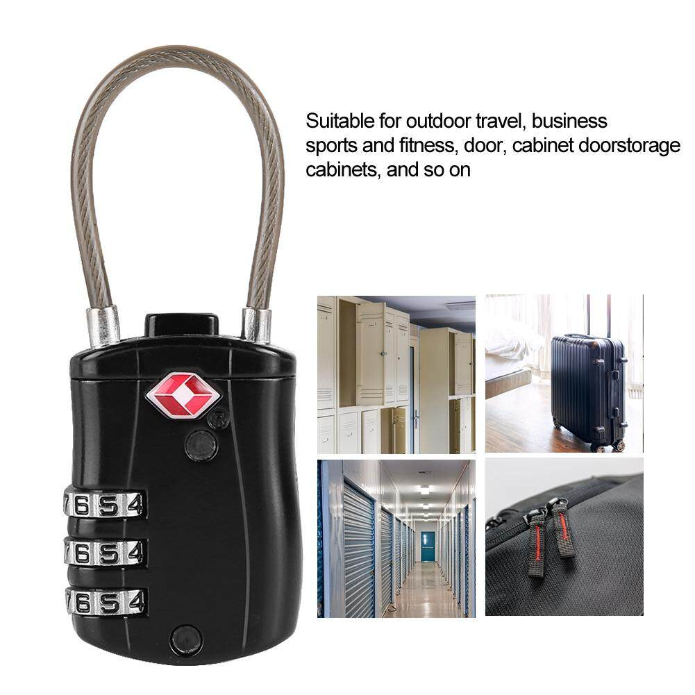 Qianmei 527 TSA Travel Luggage Cable Lock Customs Suitcase Combination Padlock