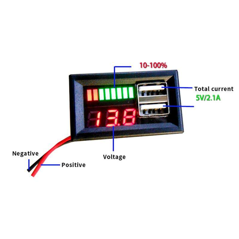Mini DC 12V Red LED Panel Digital Voltage Volt Meter Display Voltmeter Car Black