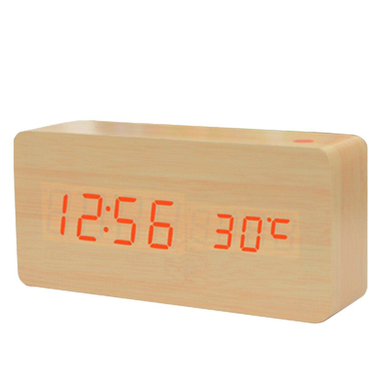 Phổ Biến nhất Sáng Tạo Gỗ Đồng Hồ Báo Thức Giọng Nói Tắt Tiếng LED Lịch Đầu Giường Đồng Hồ Đồng Hồ Báo Thức bán chạy